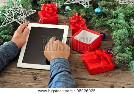 Tablet Computer In Men Hands