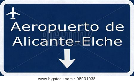 Alicante Spain Airport Highway Sign