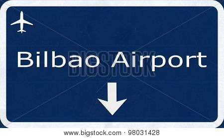 Bilbao Spain Airport Highway Sign