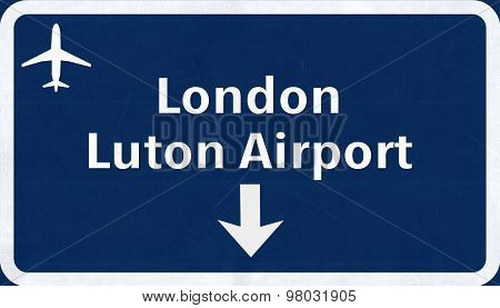London Luton England United Kingdom Airport Highway Sign