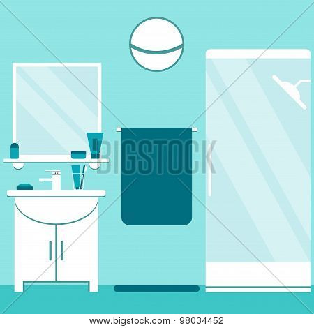 Modern bathroom interior design in blue and white colors. Flat style bathroom elements.