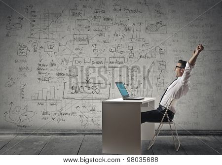 Businessman working for long hours in the office