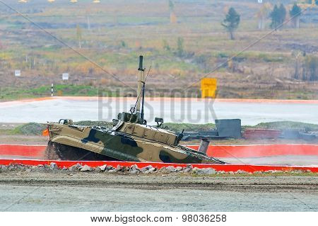 Infantry fighting vehicle BMP-3M after water ford