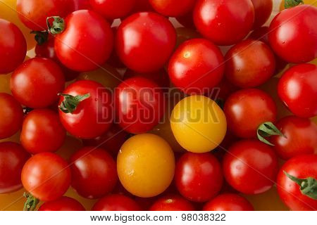 Delicious Fresh, Vegan, Red And Yellow Ripe Cherry Tomatoes.