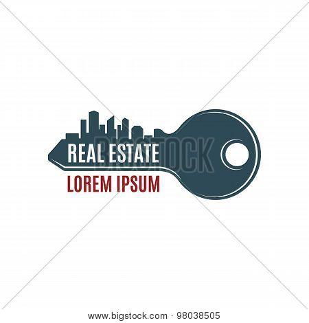 Real estate, simple key logo template.
