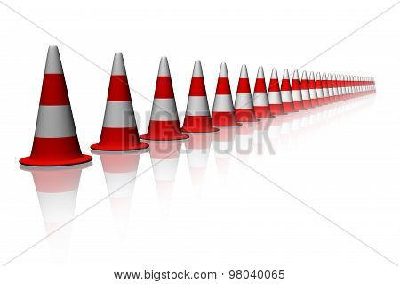Traffic red Cones in line