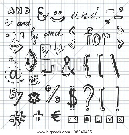 Hand drawn set with social media sign and symbol doodles. Catchwords and, for, to, the, by. Design e