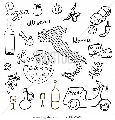 Italy Doodles Elements. Hand Drawn Set