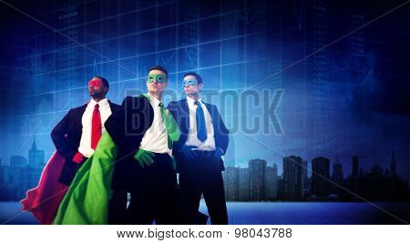 Superhero Business People Strength Cityscape Stock Exchange Concept poster