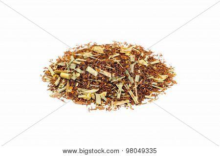 Pile of Loose lemon ginger summer tea isolated on white background poster