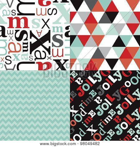 Christmas holiday pattern set with typography text pattern chevron and geometric triangles in mint and coral background collection in vector