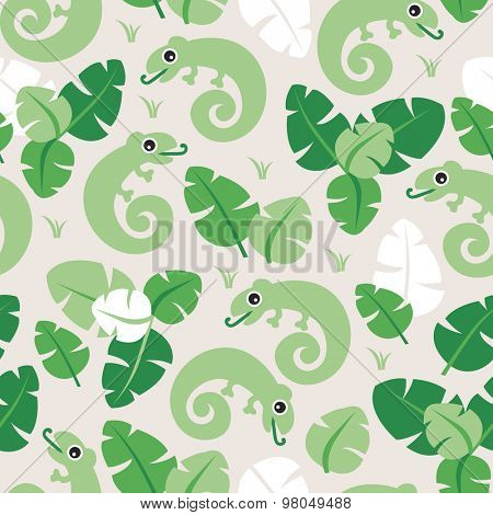 Seamless kids lush lizard green forest illustration tropical background pattern in vector