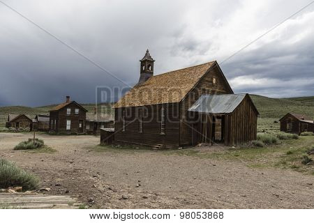 Storm sky above historic Bodie ghost town near Mammoth Lakes, California.