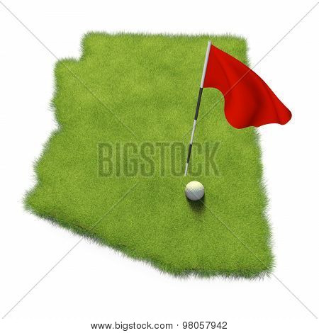 Golf ball and flag pole on course putting green shaped like the state of Arizona