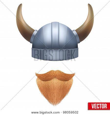 Viking symbol with horned helmet and ginger beard. Vector illustration isolated on white background. poster