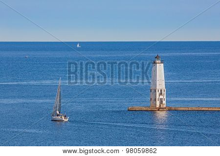 Frankfort Lighthouse And Sailboats