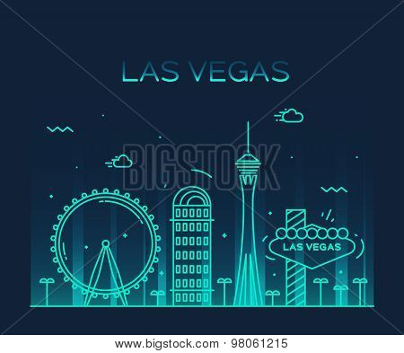 Las Vegas skyline vector illustration linear