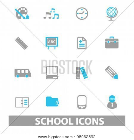 school, education icons, signs, illustrations set, vector