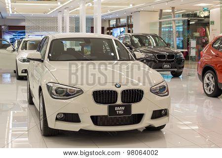 BMW 116i car on display at the Siam Paragon Mall in Bangkok.