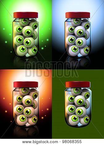 Halloween Eyeballs In A Jar 3D