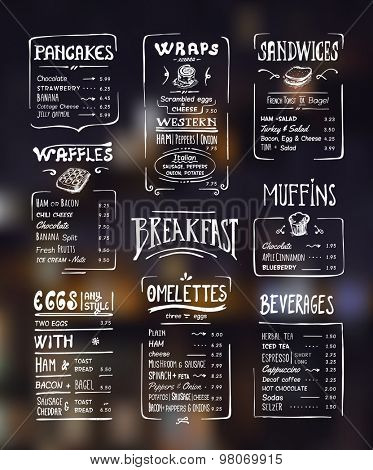 Breakfast menu. White drawing on dark background