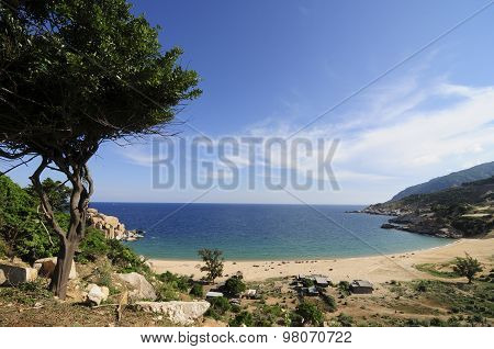 Beautiful landscape with mountain and sea in Ninh Thuan, Vietnam