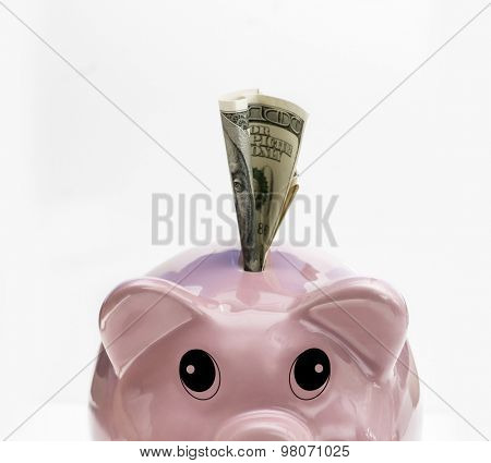 Saving piggy bank with cute expressive eyes looking up at $100 being deposited