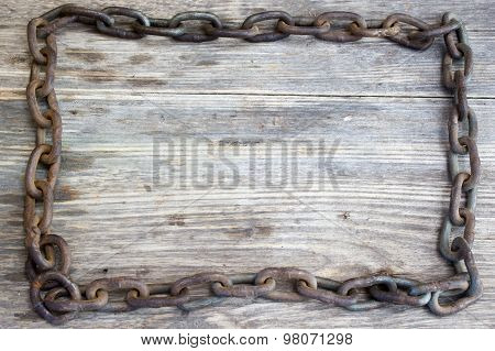 Metal Chain On Nice Old Wooden Background, Copy Space To Right.