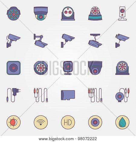 Surveillance cameras icon set