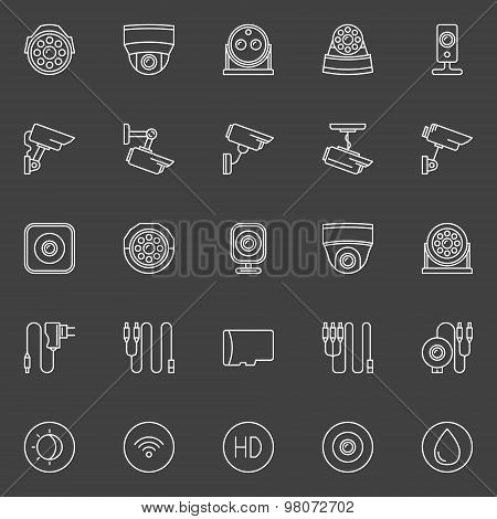 Video surveillance cameras icons