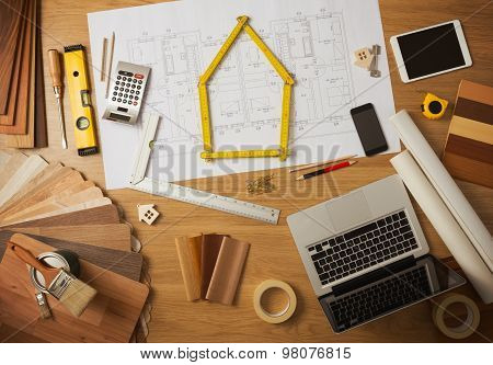 Architect And Interior Designer Work Table