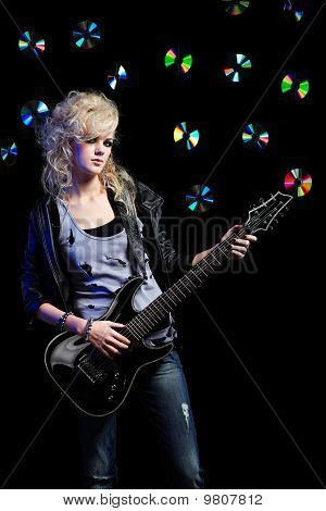 Blonde Girl With Guitar