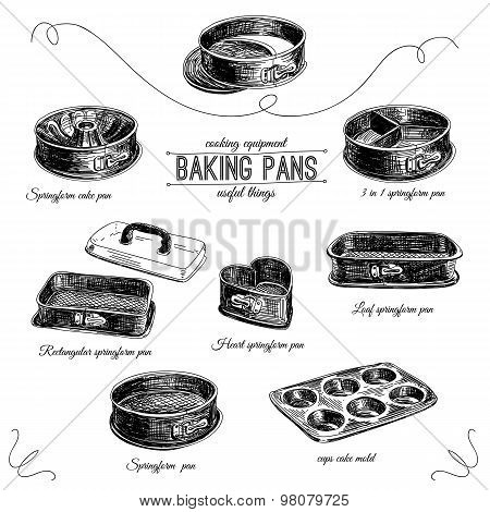 Vector hand drawn set with bakery pans.