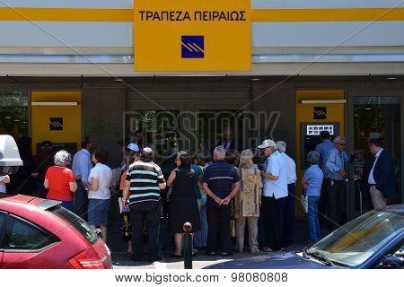 Pensioners Queue At Greek Bank
