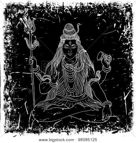 Vintage poster with sitting Indian god Shiva on the grunge background. Retro hand drawn vector illus