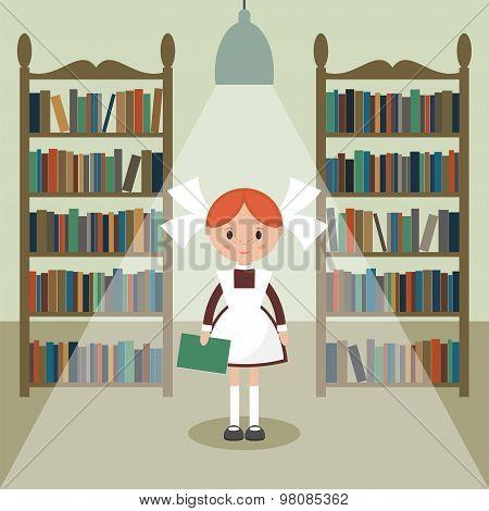 Soviet cartoon schoolgirl in library. Soviet schoolgirl in school uniform. Simple flat vector. poster