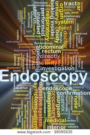 Background concept wordcloud illustration of endoscopy glowing light