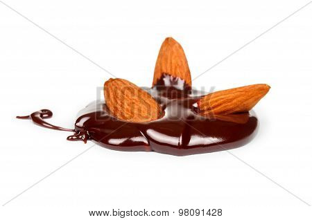 Almonds In  Chocolate Flow
