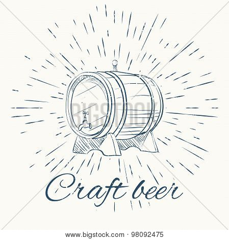 beer barrel and vintage sun burst frame. craft beer emblem. Isolated on white background. poster