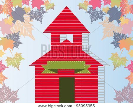 Little red schoolhouse leaves and banner