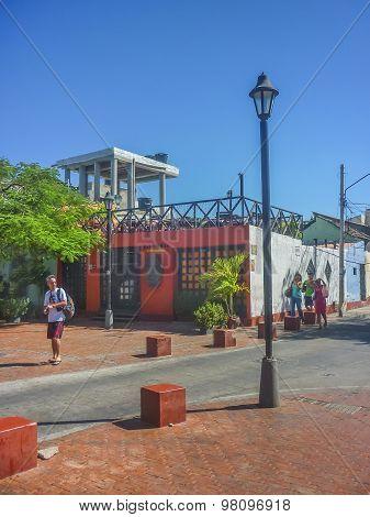 Traditional Street Of Santa Marta Colombia