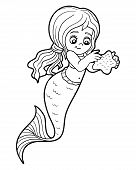 Coloring book for children (little cute girl mermaid) poster