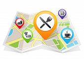 Restaurant and Cafe Bar Map pointer Location Destination on map on white background poster