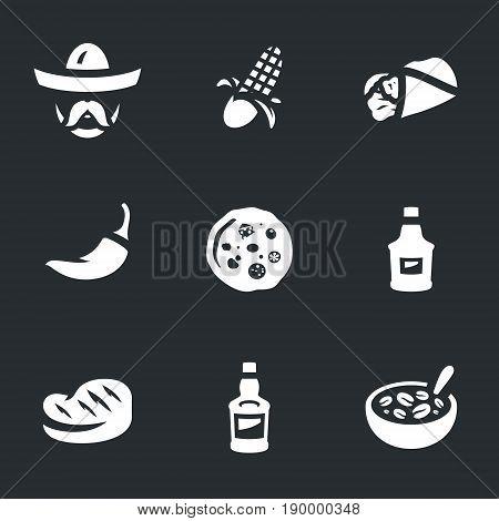 Mexican, corn, burrito, chili, pizza, sauce, steak, tequila, kidney beans.