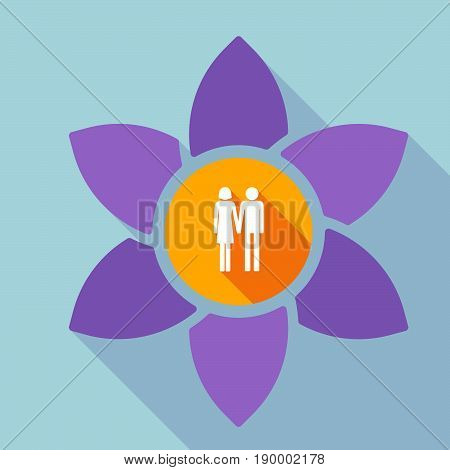 Long Shadow Loto With A Heterosexual Couple Pictogram