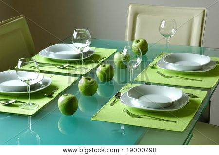 Modern fancy table setting for four
