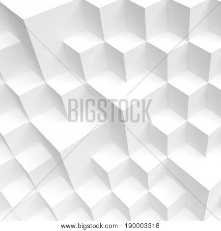 3d Illustration of White Cube Construction. Creative Industrial Concept. Modern Architecture Background