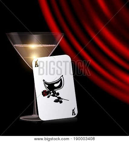 black background, the large glass of champagne or white wine with red drape and abstract games card of carnival hal-mask with rose