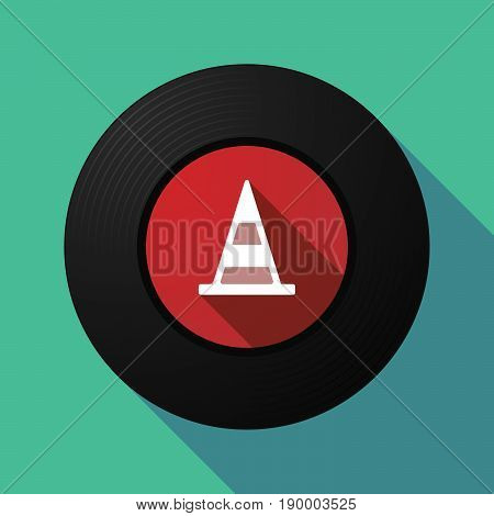 Long Shadow Music Disc With A Road Cone