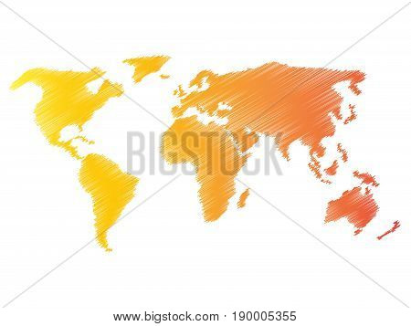 Pencil scribble sketch map of World. Hand doodle drawing. Vector illustration in warm colors on white background.